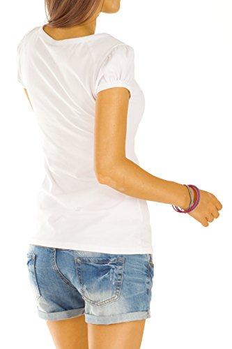 Bestyledberlin Damen T Shirt Oberteile Basic Top Shirt Stretch kurzarm mit Knöpfen t01p Ozeanblau