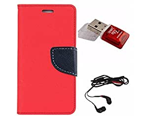 Avzax Diary Look Flip Wallet Case Cover For Nokia Lumia 630 (Red) + Memory Card Reader + In Ear Headphone