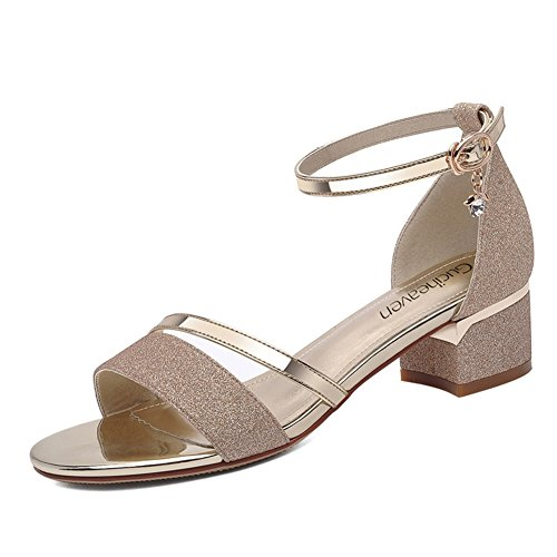 Lady,Summer,Sandales à Talon Moyens Strass,Rough Avec,Chaussures Tout Usage B