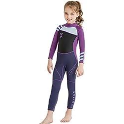 Combinaison de Plongée Fille Enfant Néoprène 2.5MM Manches Longues pour Plongée Natation Activités Aquatiques Age 3-4 ans Noir et Violet