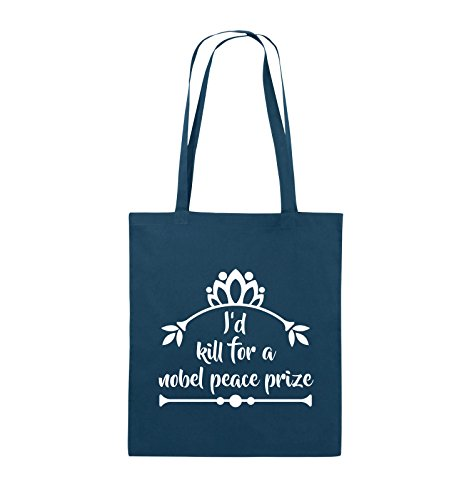 Comedy Bags - I'd kill for a nobel peace prize - Jutebeutel - lange Henkel - 38x42cm - Farbe: Schwarz / Pink Navy / Weiss