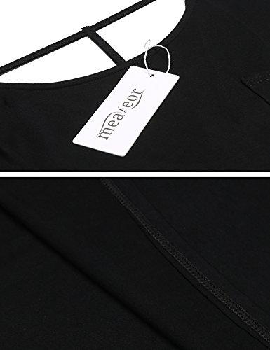 Meaneor Damen Sommer Sexy Oberteil Rückenfrei T-Shirt Rundhals Halbarm Tops Bluse Mit Schnürung Schwarz