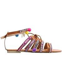 3e300de73ac9 Sandales Plates Ethniques Bohémiennes Rawdah Femmes Bohême Sandales  Gladiator Sandales en Cuir Appartements Chaussures Pom-