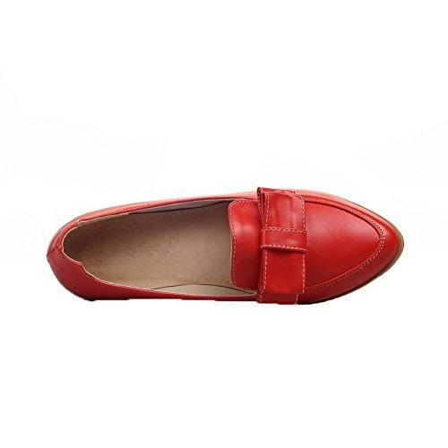 VogueZone009 Donna Puro Luccichio Tacco Basso Scarpe A Punta Tirare Ballerine Rosso