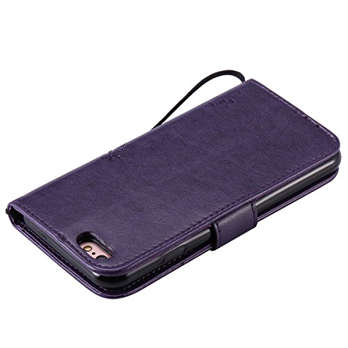 EUWLY Lanyard Portafoglio Cover in Pelle per [iPhone 6 Plus/iPhone 6s Plus (5.5)],Creativo Divertente e Carina Retro Wallet Custodia [gatto, Albero] Goffratura Modello Cover Case per iPhone 6 Plus/iP Gatto Albero,Viola