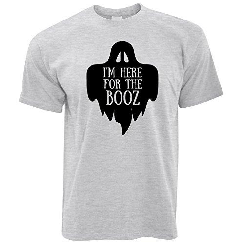 Neuheit Halloween T-Shirt Ich Bin Hier für den Booz-Witz Grey Large