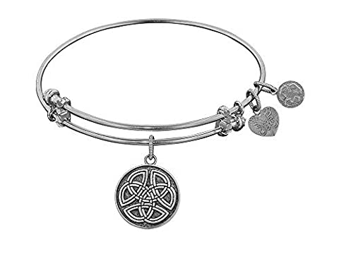 Angelica Collection Antique White Smooth Finish Brass celtic Round Knot Expandable Bangle by Angelica Collection