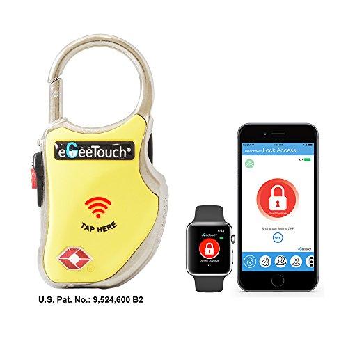 eGeeTouch® NFC Gepäckschloss, GT1000-96 (gelb), TSA & IATA konform, mit patentierter dualer Zugriffstechnologie (NFC + Bluetooth), Entfernungswarnung usw.