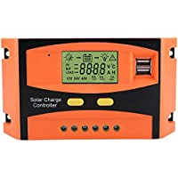 Akozon Controlador de Carga Solar PWM Smart Dual USB Impermeable Panel Solar Controlador de Carga Regulador Pantalla LCD 12 V 24 V 30 A