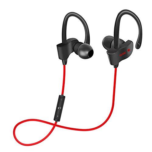 EUGO Auricolari Wireless Bluetooth 4.1 Headset Stereo Cuffie Sportive a Prova di Sudore con Microfono e DSP Riduzione Rumore Headphone per iPhone 6s plus/6s, iPhone 6/6 Plus, iPhone 5s/5c/5/4s, iPad, LG G2, Samsung Galaxy S6 Edge+/S6 Edge/S6/ S5/S4/S3, Note 4/Note 3/Note 2, Sony, Huawei ed altri Smartphone - Rosso