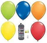 Helium Ballongas Set mit 10 Luftballons ø23 cm, Ballonband und Heliumflasche