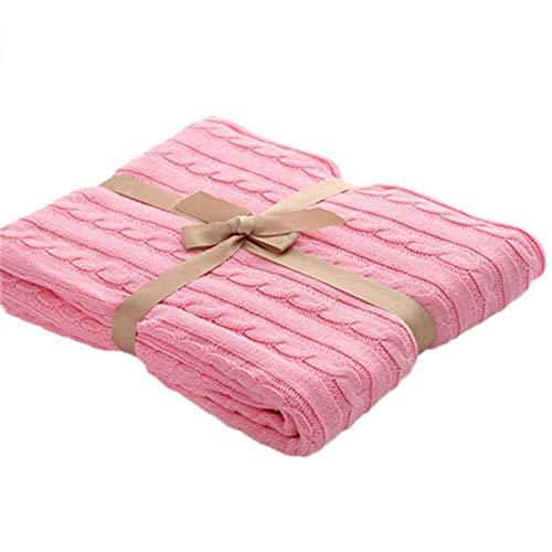 Bettdecke für Doppelbett, Gestrickte Decke, Bettüberwürfe, superweiche Baumwoll-Wolle, groß, waschbar für Bett, Stuhl, Sofa, Couch Büro, Reisen (120 x 180 cm) Rose