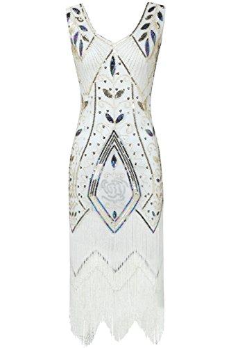 ArtiDeco 1920s Kleid Damen Retro 20er Jahre Stil Flapper Kleider mit Fransen V Ausschnitt Gatsby Motto Party Kleider Damen Kostüm Kleid (Weiß, M (Fits 78-84 cm Waist & 92-95 cm Hips))