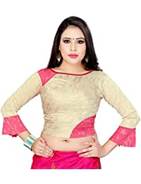 90efe08df3671 GoGurl Women s Cotton Lycra Readymade Stretchable Saree Blouse (Cream Free  Size)