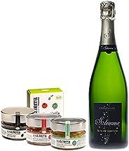 Coffret Champagne & épicerie Provençale Bio - coffret cadeau gastronomie - Champagne Brut 1 bouteille, Apé