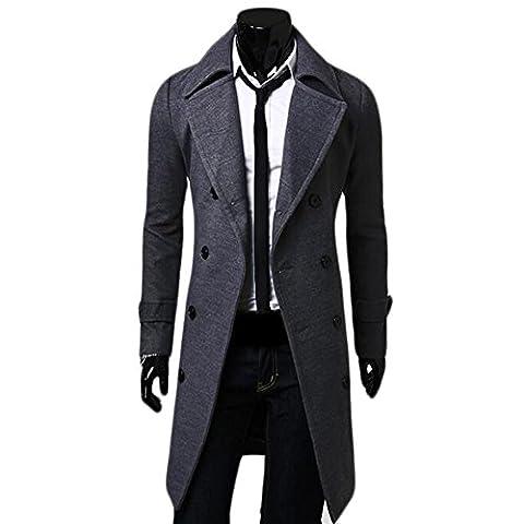 Manteau Classique Long Homme - Ming Manteau de Laine à Double Boutonnage