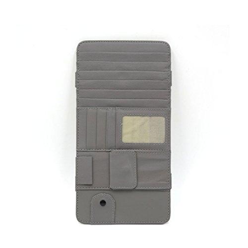 sourcingmap 7 CD Schlitze 4 Kreditkarten Taschen PU Leder Auto Sonnenblende Halter Grau