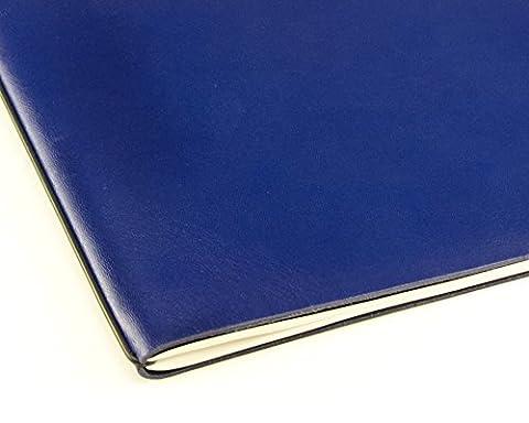 X17 A4+ 1er Mappe Leder-Fasermaterial blau im A4 Überformat mit Blankoeinlage, Doppeltasche und Buchband, Made in Germany, beschichtetes Lederfasermaterial, 17 Jahre Garantie auf die Hülle!