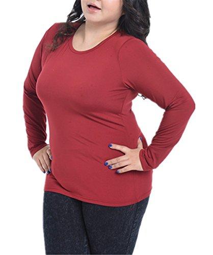 JOTHIN 2017 Donna Autunno Velluto Tinta Unita T-shirt Collo Alto Manica Lunga Larghi Magliette Casual Fasciante Elegante Pullover Tops. Rosso