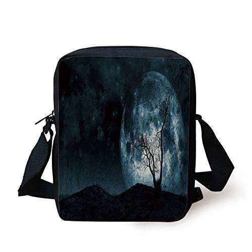 ky with Tree Silhouette Gothic Halloween Colors Scary Artsy Background,Slate Blue Print Kids Crossbody Messenger Bag Purse ()