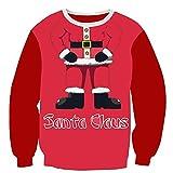 GreatestPAK Pullover Damen Weihnachtsmann Digitaldruck Rundhalsausschnitt Loses Sweatshirt Bluse, rot,2XL