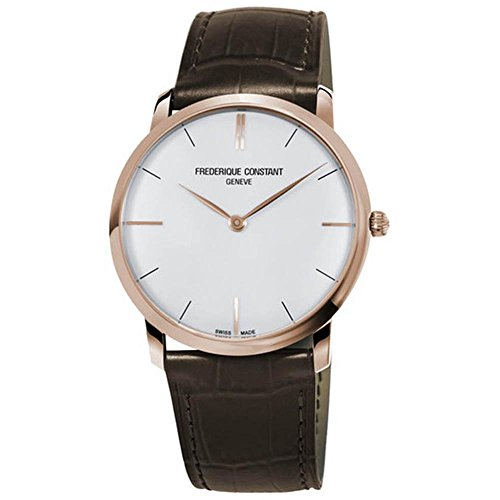 Frederique Constant Slimline White Dial Leather Strap Men's Watch FC200V5S34