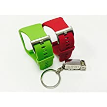 BSI Set 1pc Red and 1pc Lime Green Replacement Bands For Samsung Gear S Smart Watch Smartwatch Wireless + Free Silver Metal Truck Keychain with BSI(TM) LOGO