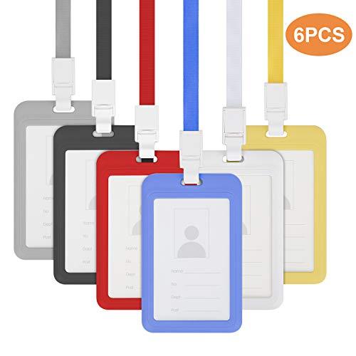 6 Stück ID-Kartenhalter, Ausweishülle mit Band, ID Abzeichen Halter, Ausweis-Set für Geschäftsereignisse, Arbeit, Ausstellungen, Veranstaltungen, Büro und Schulbedarf (6 Farben)