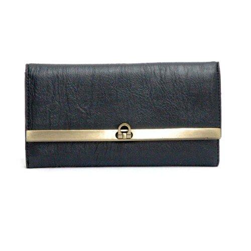 dasein-leather-like-classic-checkbook-wallet-clutch-black