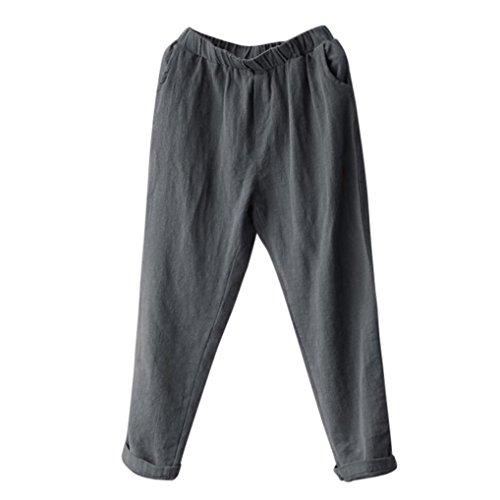 TUDUZ Damen Hohe Taille Vintage Streifen Lose Strandhose Leinen Lange Hosen Pluderhosen(M,Grau)