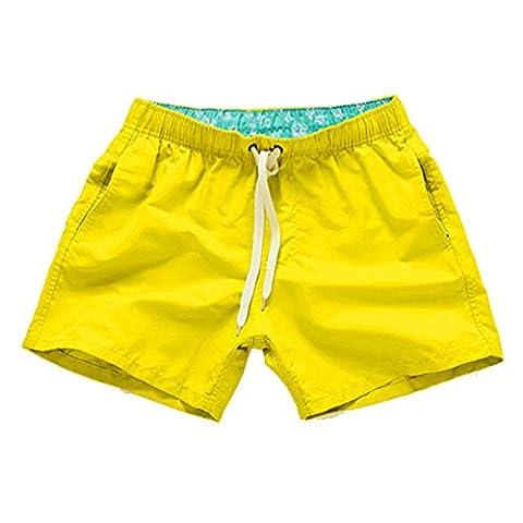Herren Badeshorts - Kurze Badehose Badeshort Freizeit Strand-Shorts Gelb