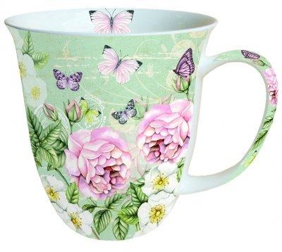 Ambiente Große Porzellan Tasse Becher Teetasse Mug 0,4 L Botanical Green Grün Rosa Fine Bone China -