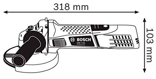 Bosch Professional Winkelschleifer GWS 7-125 (Zusatzhandgriff, Aufnahmeflansch, Spannmutter, Schutzhaube, Zweilochschlüssel, Karton, Scheiben-Ø: 125 mm, 720 Watt) - 7