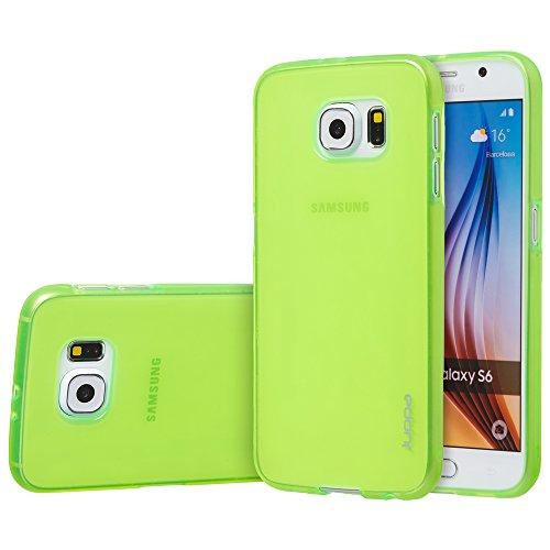 Juppa® Samsung Galaxy S6 Edge 5,1 Zoll SM-G925 Smartphone TPU Silikon Tasche Hülle Schutzhülle mit LCD displayschutzfolie und Mikro-Reinigungstuch - Klar Grün