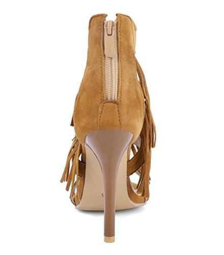 SHINIK Frauen Knöchelriemen Pumps Quaste hoch Top Sandalen Peep-Toe Court Schuhe Yellow