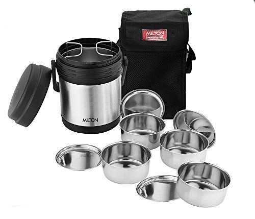 Milton Thermosteel Hot Meal Container Lunch Box, Set of 4,Black/Stainless...