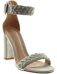 Fashion Thirsty D��collet�� da donna,scarpe con tacco a spillo medio alto,sandali da festa con cinturino alla caviglia - Scamosciato Nero, 37