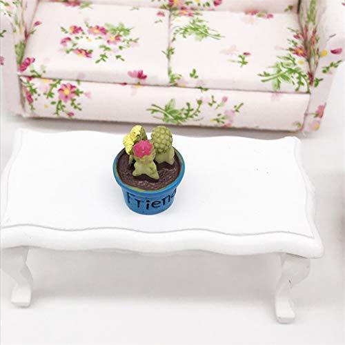 Baslinze Puppenhaus Holz Puppen 1:12 Mini Gartendekoration Süßes Mini Harz Sukkulenten Gartenzubehör -