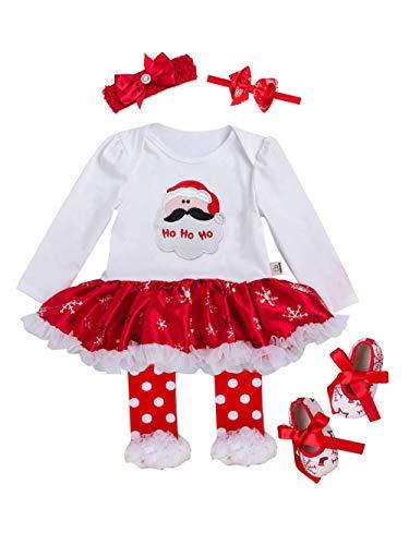 URBEAR Neonata Bambina Mio Primo Costume della Santa del Partito del Abitini Vestito 5 pz Babbo Natale 3-18 Mese