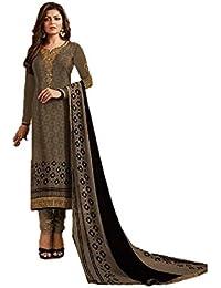 9ff0206b171 RIWAAYAT TRENDS Crape semi stitched chudidaar suit dress material with  georgette printed dupatta for women -