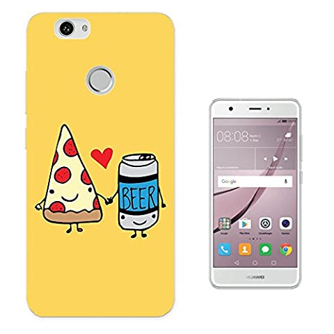 002285 - Best Friends Pizza Bear Fun Design Huawei Nova Fashion Trend Protecteur Coque Gel Rubber Silicone protection Case Coque
