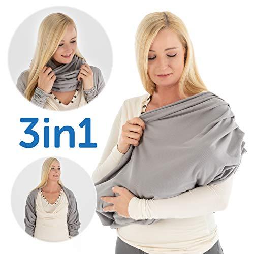LaLoona Stillschal, atmungsaktives Stilltuch für unterwegs - Abdeckung/Tuch zum Stillen in der Öffentlichkeit - Still-Loop/Bolero aus 100% Baumwolle - Grau