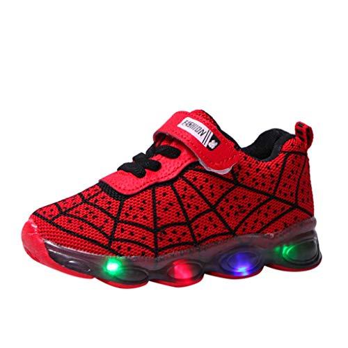 LED leuchtende Bunte Cartoon Sneaker Spinnennetz Turnschuhe Unisex Kinder Jungen Mädchen Sportschuhe leichte Schuhe HDUFGJ25 EU(rot)