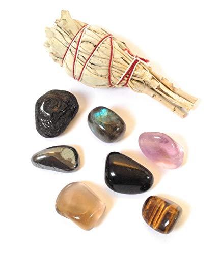 Paquete de protección contra tumblestone y salvia, turmalina, labradorita, obsidiana, amatista, cuarzo ahumado, hematita, ojo de tigre, salvia blanca californiana natural, paquete de piedra