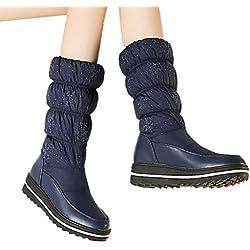Tianwlio Frauen Herbst Winter Stiefel Schuhe Stiefeletten Boots Damen Winter Warm Halten Schuhe Runde Zehe Elastische Kraft Dicke Untere Schneestiefel Blau 37