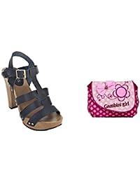 Estatos Pattern Leather Open Toe Buckle Closure Block Wooden Heel Black Gladiator Sandals With Pink Printed Sling...