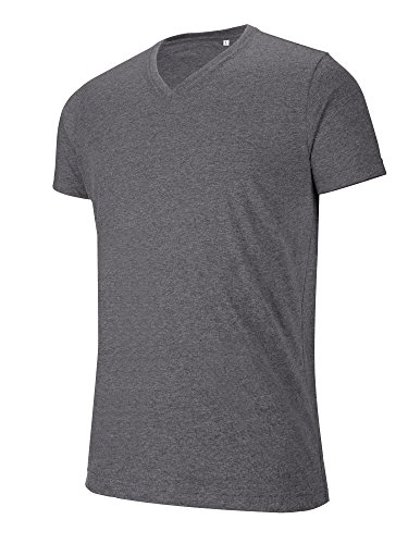 Kariban V-Ausschnitt Kurzarm Melange T-Shirt Grün
