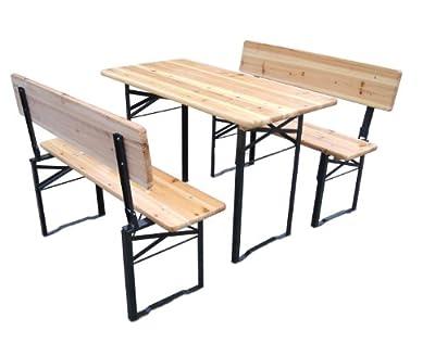 BRUBAKER Bierzeltgarnitur 116 cm x 60 cm - Bänke und Tische faltbar und mit Rückenlehnen