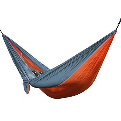 Generic 6 Colors Parachute Portable Hammock 275 cm x 140 cm Loading Stand 250 kg amping -Orange Gray