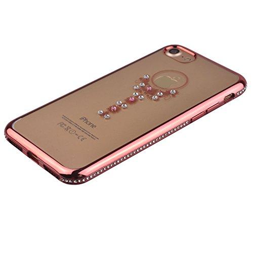 Voguecase® für Apple iPhone 7 Plus 5.5 hülle, Schutzhülle / Case / Cover / Hülle / TPU Gel Skin (Katzenbär Muster/Lila) + Gratis Universal Eingabestift Pink Grenze/Anhänger